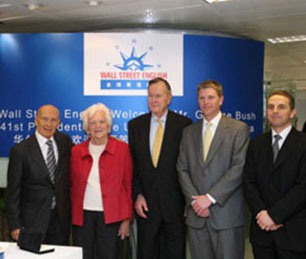 Pecce with President George H. W. Bush and Mrs. Barbara Bush.<br>In the photo also Tim Daniels, Wall Street Institute International Chairman and<br>David Kedwards, Wall Street English China CEO<br>&bull; Wall Street English Shanghai, 2006.