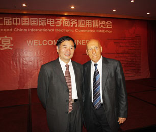 Pecce with Yang Xueshan, Vice-Minister of Ministry of Industry and<br>Information Technology of the People's Republic of China<br>&bull; APEC Economies Senior Officials Forum & Global Economy Growth China Summit, Beijing, 2009.