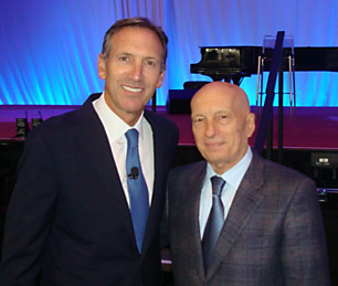 Pecce with Howard Schultz, Chairman, President and Chief Executive Officer at Starbucks Coffee Company • World Business Forum New York, 2011.